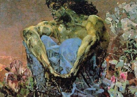 The Demon Seated painting, Tretyakov Gallery, Moscow, Russia